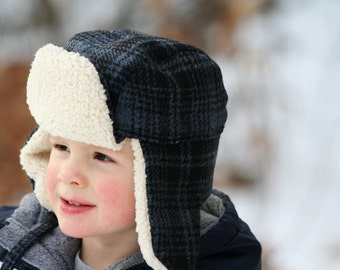 Plaid Bomber Hat - Toddler Boy's Hat - Blue Plaid Wool - Aviator Hat - Ear Flaps