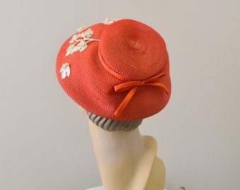 1950s Jayne Claire Red Straw Hat