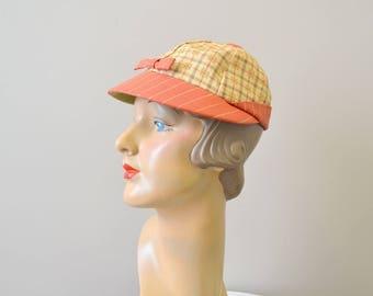 1950s Plaid Straw Cap