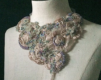 ANASTASIA Lilac Beaded Textile Statement Bib Necklace