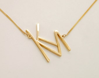 Sideways Monogram Necklace - Two Letters Necklace Gold - 14k Gold Initial Necklace - Letters K M Two Initials Necklace Monogrammed