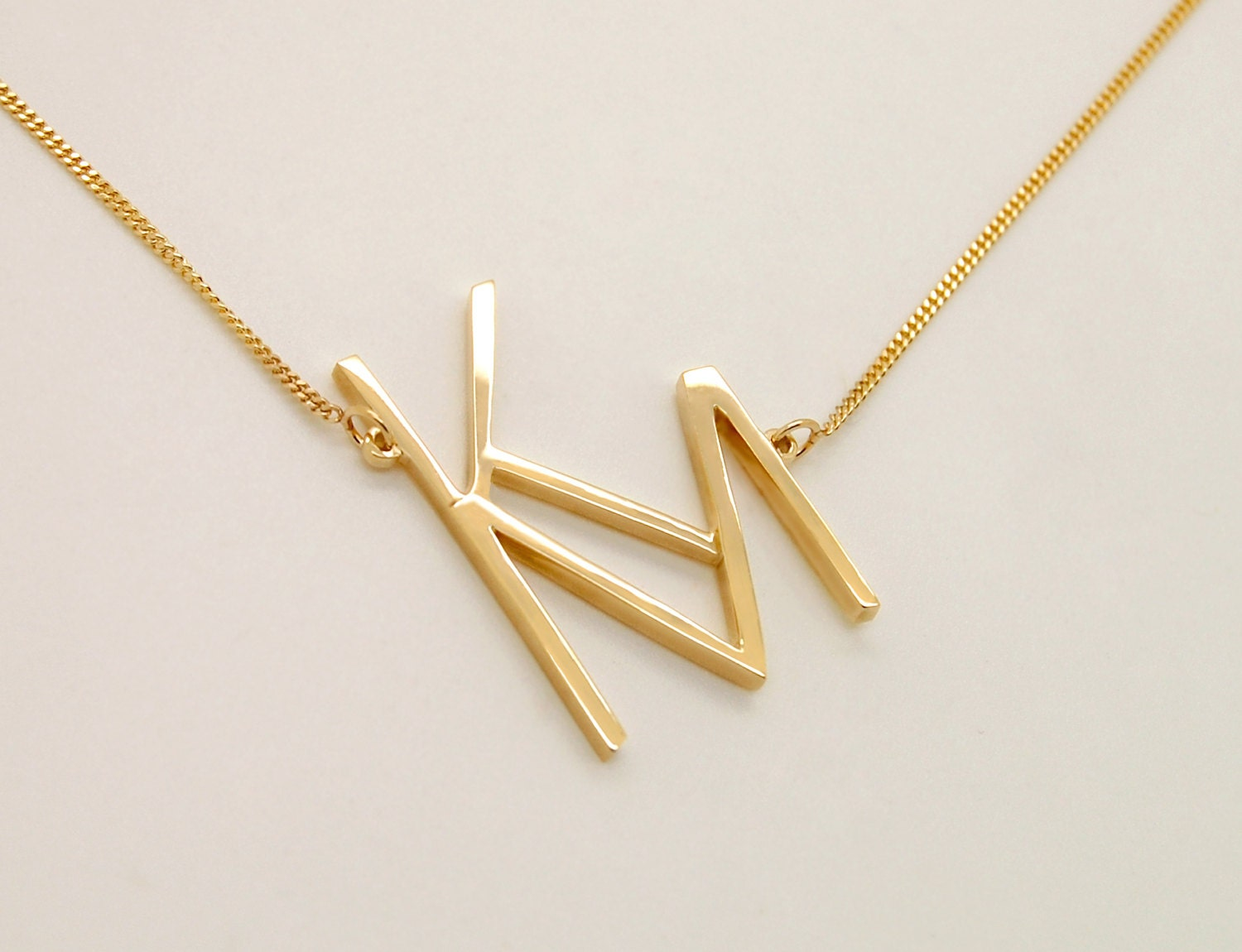 sideways monogram necklace 14k gold initial necklace two initial necklace 2 letter necklace gold k m block letters monogrammed