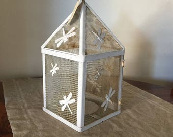 Amazing painted white metal candle lantern / holder. My white vintage home.