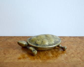 Vintage Solid Brass Turtle Tortoise Box Figurine