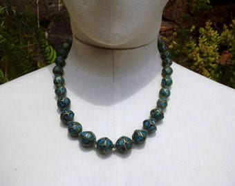 60's Indian Turquoise Tribal Beaded Necklace