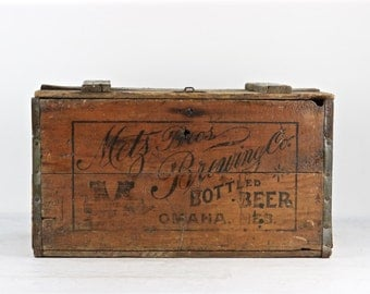 Vintage Beer Crate, Metz Bros. Brewing Co. Omaha NE, Vintage Beer Crate, Metz Beer, Old Beer Crate, 1920's Beer Crate, XXL Beer Crate