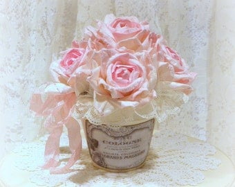Shabby Chic Floral Arrangement, Shabby Chic Decor, Rose Arrangement, Shabby Pink Roses, Paris Decor, County French Decor, Potted Roses
