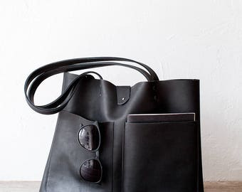 Black Mexican Leather Tote bag No. LPB-7013