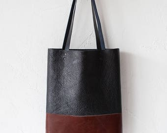 SALE Textured Black & Chestnut Brown Leather Tote bag No.TO-101