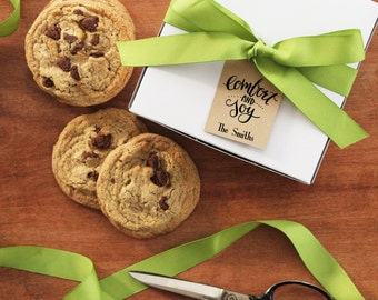Set of 8 - Holiday Gift Boxes - Comfort and Joy Tag | Holiday Cookie Boxes | Personalized Gift Boxes | Baked Goods Boxes |  Cookie Boxes