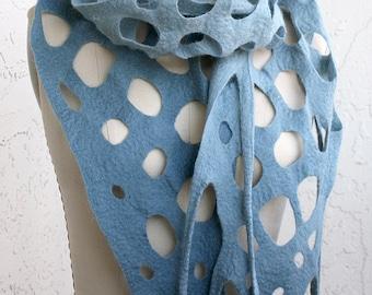Gradient denim blue merino wool scarf eco-friendly light warm woman lacy lace holes unique designer felted transformer merino wool present