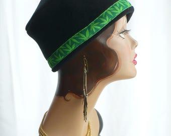 Black Fez Cap with Cannabis Leaf Trim, men's or women's