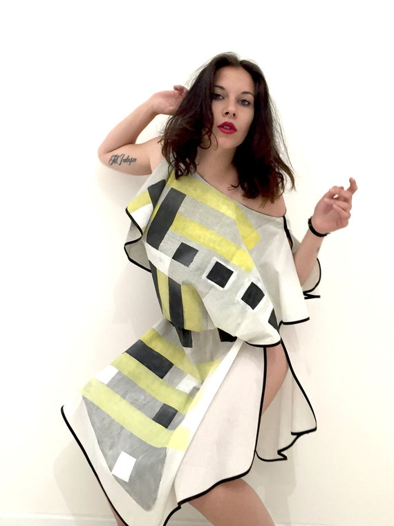 Hand Painted Tunic LOLA DARLING Dress Black Yellow Square Peplos Light Cotton Art Work by A. LUGLI Artist Unique Piece Signed and Certified
