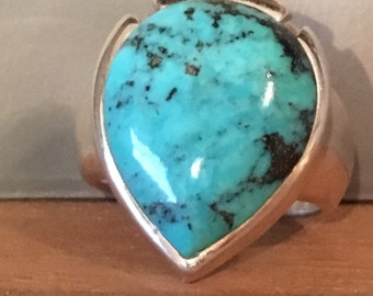 TURQUOISE STERLING SILVER Modernist Ring Size 7.75