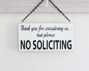 No Soliciting Sign, Custom Sign, Wall Art, Wood Sign, Vintage Sign