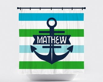 Shower Curtain, Horizontal Stripe, Striped, Preppy, Nautical, Anchor,  Green Blue