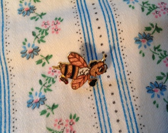 Vintage Lapel Pin, Bumble Bee Lapel Pin,  Cloisenne from 80's
