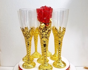 baby shower champagne flutes perfect for red and gold baby shower