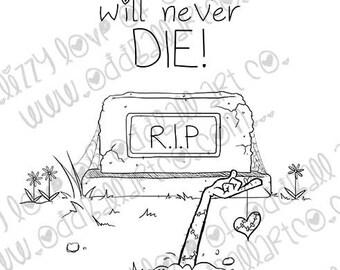 INSTANT DOWNLOAD Zombie Graveyard Valentine Digital Stamp - Immortal Love Image No.368 by Lizzy Love