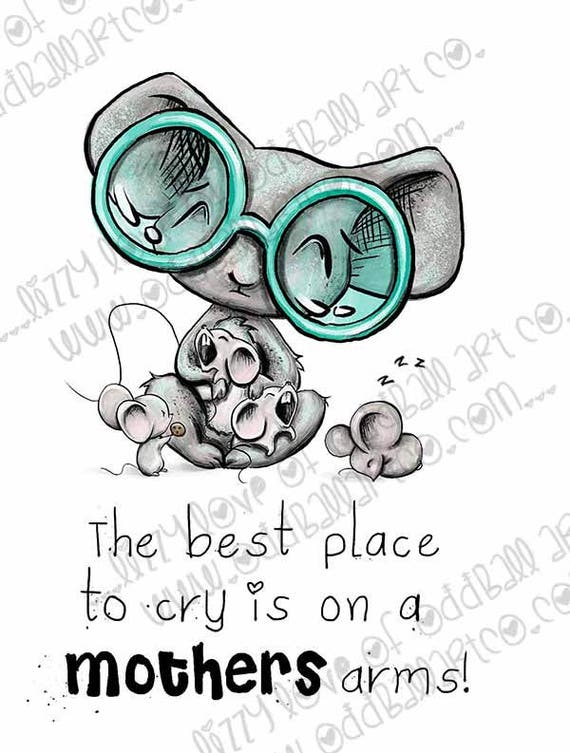 INSTANT DOWNLOAD Whimsical Mother Mouse and Crying Babies Stamp w/ Sentiment - Mamma Mouse  Image No.330 by Lizzy Love