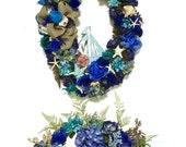 Custom Designed Beach Theme Silk Floral and Shell Centerpiece and Large SIlk Floral and Shell Coordinating Oval Wreath