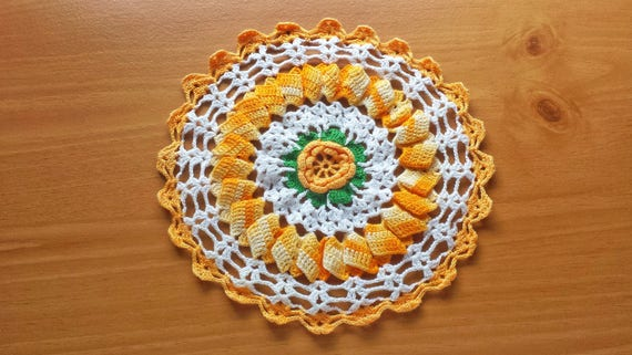 Yellow Orange Floral Doily, 8.5 inch Crochet Doily with Flower in the Center