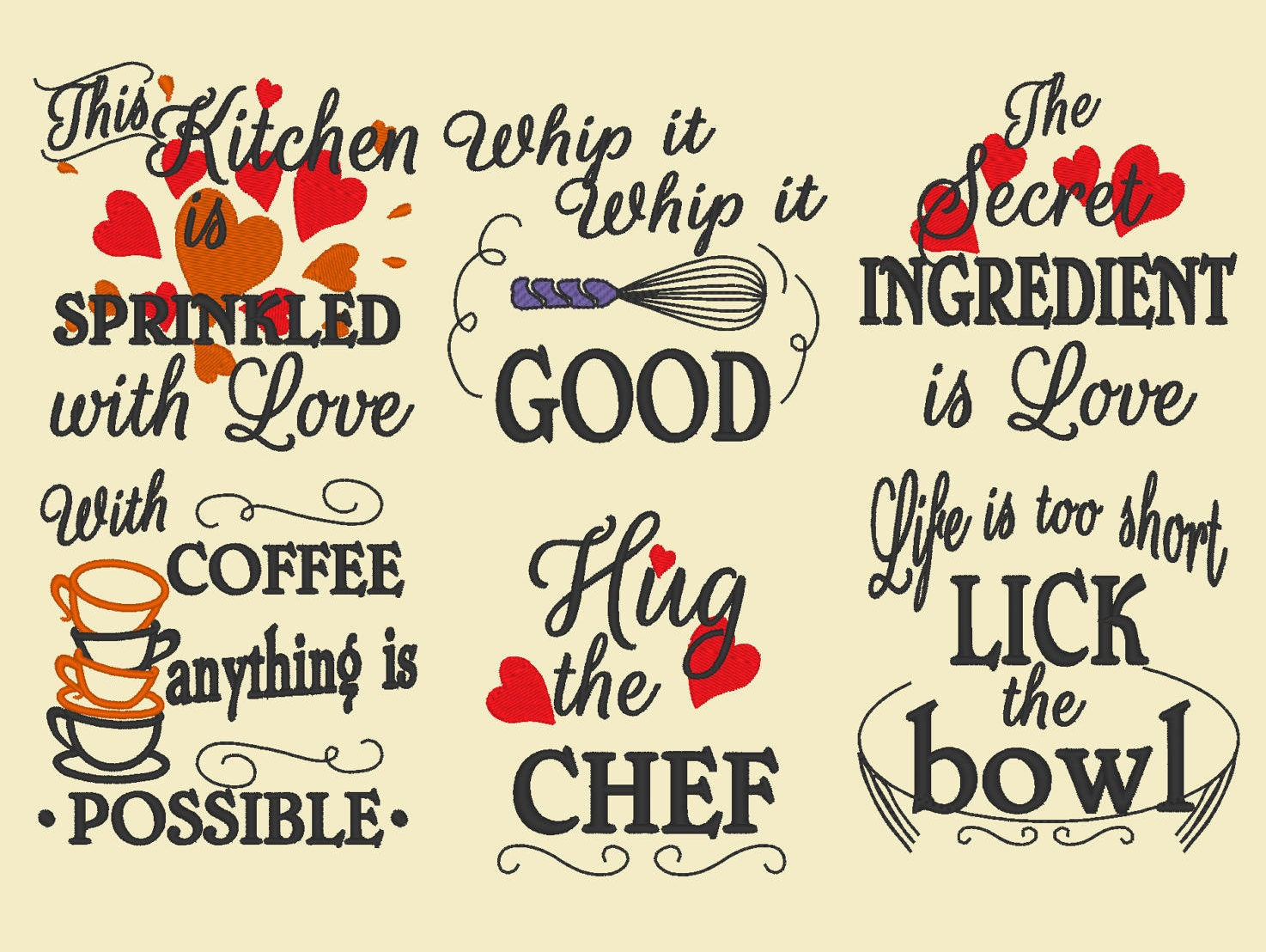 Kitchen Cute Quotes Machine Embroidery Designs 4x4