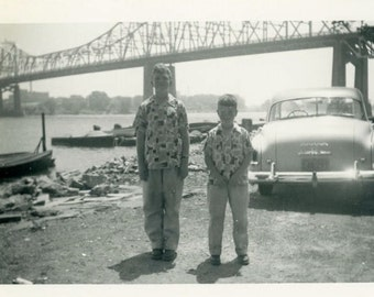 "Vintage Photo ""Pete and Patrick's Epic Road Trip"" Snapshot Antique Photo Old Black & White Photograph Found Paper Ephemera Vernacular - 196"