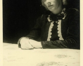 "Vintage Photo ""The Mysterious Blonde Beauty"" Snapshot Antique Photo Old Black & White Photograph Found Paper Ephemera Vernacular - 196"