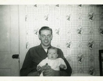 "Vintage Photo ""Daddy and His Little Princess"" Snapshot Antique Photo Old Black & White Photograph Found Paper Ephemera Vernacular - 78"