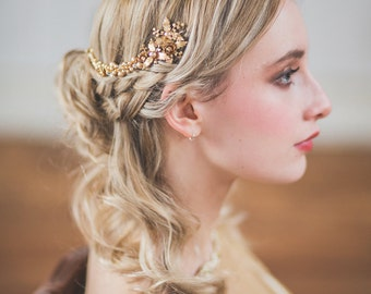 Bridal beaded jewelled gold 1 or 2 piece headpiece vine 'Apollonia' brass gold finish