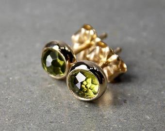 Rose Cut Peridot & 14K Gold Stud Earrings