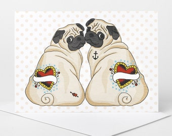 Pug Love Card - personalise names (pug wedding card, pug engagement card, pug anniversary card, custom pug boyfriend girlfriend card)