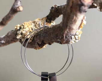 minimal hematite cube silver hoop earrings - minimal hematite silver hoop dangling earrings - delicate silver hoop earrings - gift for her