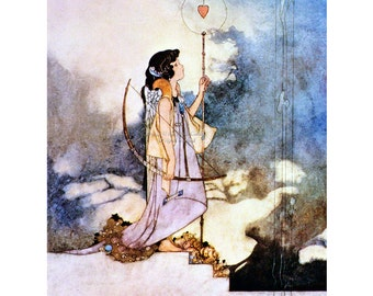 Cupid Greeting Card - In The Court of Love Shakespeare | Repro Charles Robinson