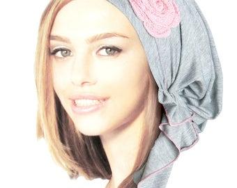Gray Grey Pink Rose Head Scarf Pre-tied Bandana Hair Snoods Tichel Lightweight Cotton Head Scarf: Soft cotton knit rose ShariRose