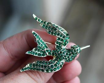 Vintage Green Rhinestone Pave Set Bird in Flight Brooch Hummingbird
