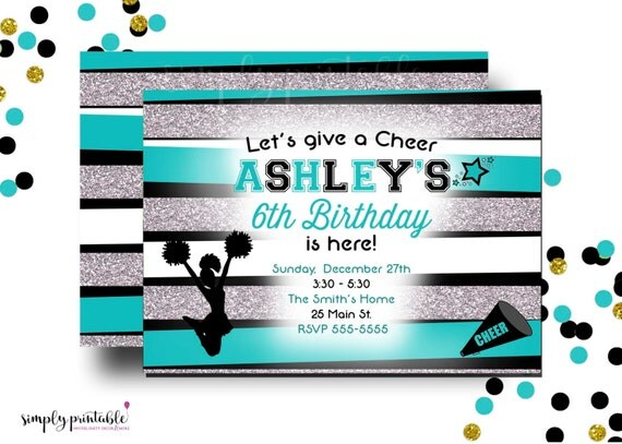 Cheerleading Birthday Invitation, Girls Birthday Invite, Cheerleader Invitation, Teal and Silver, Cheerleading Theme Party