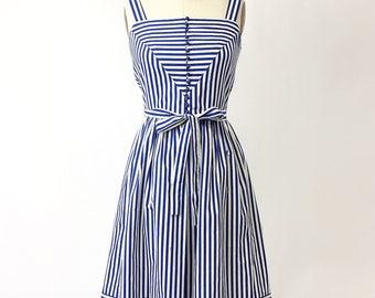 1970s Lanz Stripe Cotton Sun Dress