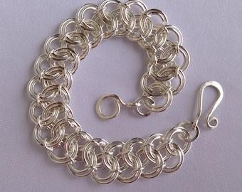 Argentium Silver Chainmail Bracelet, Battenberg Lace, Argentium Bracelet, Chainmail, Chainmail Jewelry, Chainmaille, Heartfelt Creations