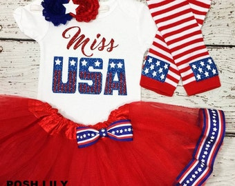 miss USA baby girl Outfit,4th of July tutu set, Patriotic red and blue tutu outfit, 4th of July Outfit,    Sparkly Glitter American flag top