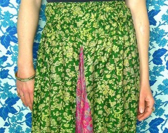 100% Silk High Waisted Harem Pants in Green Floral and Pink Paisley