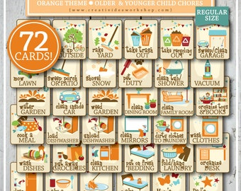 CHORE CARD COLLECTION | 72 Printable Cards & Chart | Children's Chores | Orange | Chores for Kids | Chore Cards | Chore Chart | Bundle
