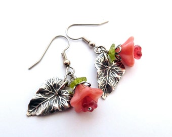 Flower leaf earrings, peach pink glass flower beads, leaf charms antique silver charm earrings, summer botanical flower jewelry