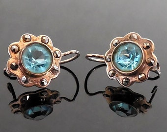 Antique Victorian Edwardian 10k Marcasite Blue Paste Stone Earrings (No. 1381)