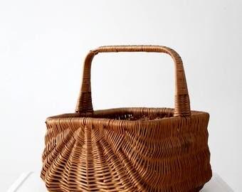 vintage gathering basket, deep handle basket, market basket