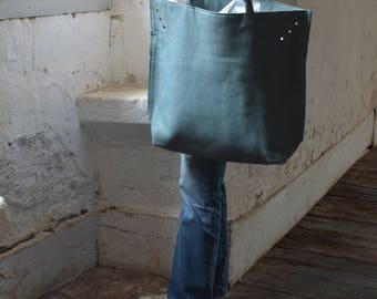 Large Leather Tote in Duck Egg Blue Leather.  Woven Top Handles. Ready to Ship.