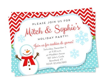 Kids Holiday Party Invitation, Kids Christmas Party Invitation, Kids Winter Party Invitation, Snowman Party Invitation