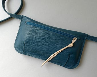 Hip pouch / fanny pack / hip bag - dark petrol leather & petrol zipper