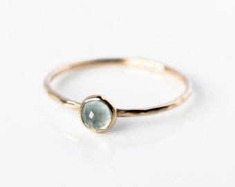 Rose cut 14k gold aquamarine ring, March birthstone, birthstone jewellery, aquamarine stacking ring, delicate, minimal, pastel blue, ocean